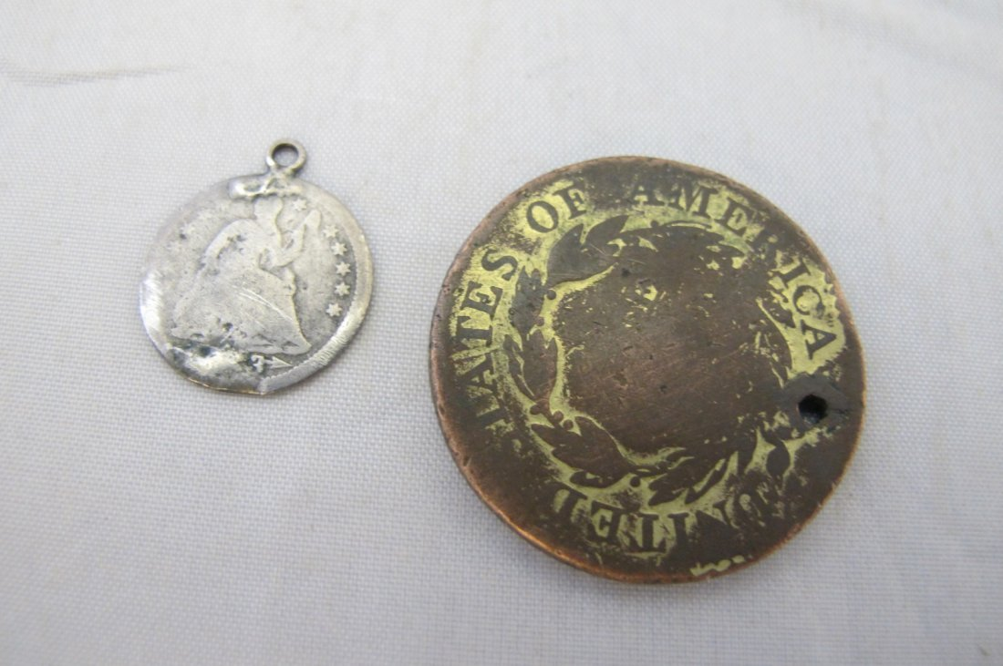 1819 Large Cent and Silver Half Dime, No Date