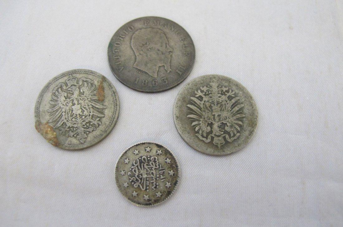 Egyptian Coin, 1863 Italian Coin and 1876, 1888 German