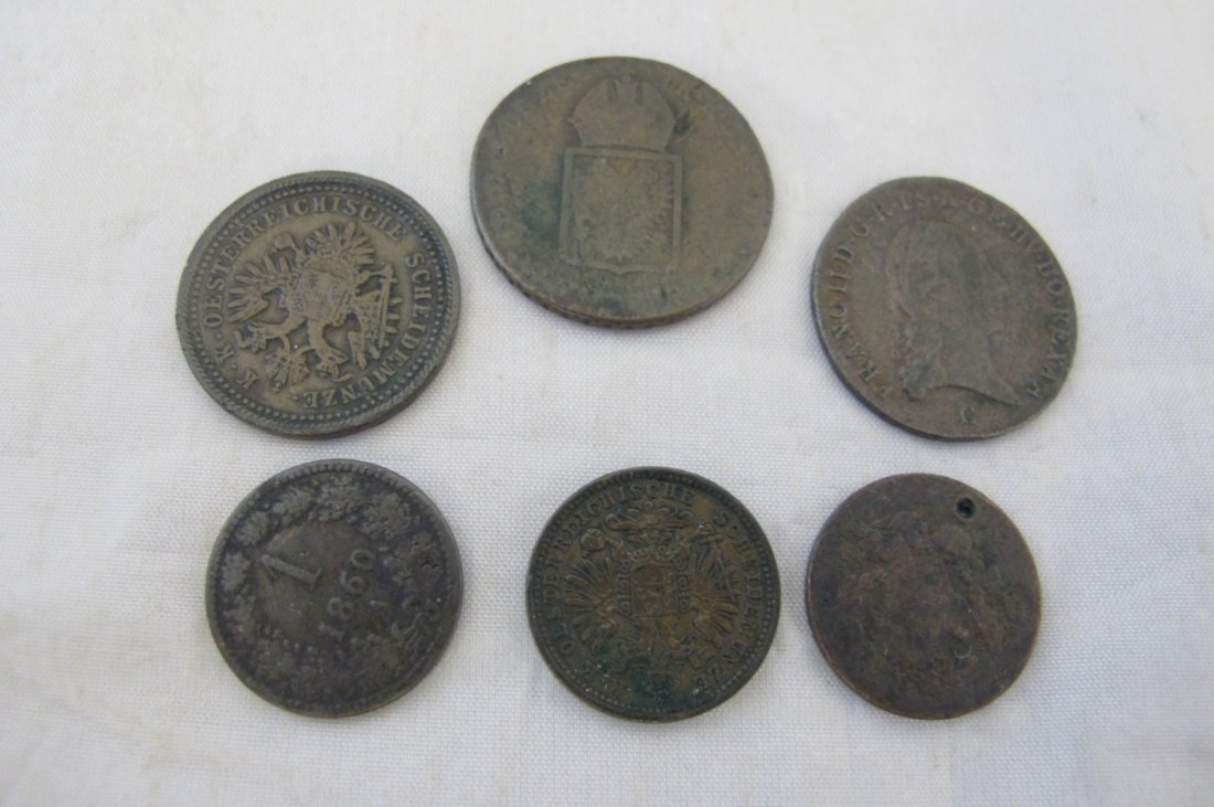 Lot of Six Austrian/Hungarian Copper Coins Various Date