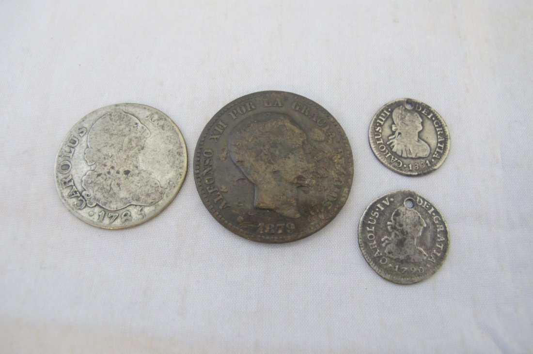 Lot of Four Early Spanish Coins (Two Drilled)