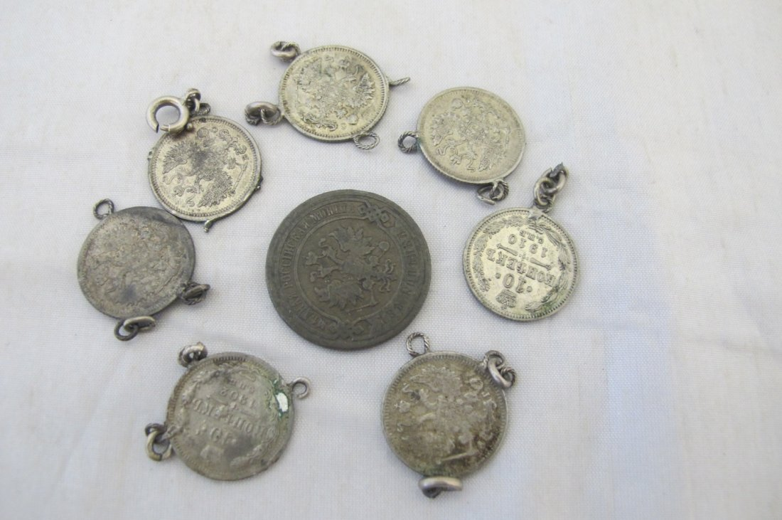 1896 Russian Coin & Seven Russian Coins Removed from a