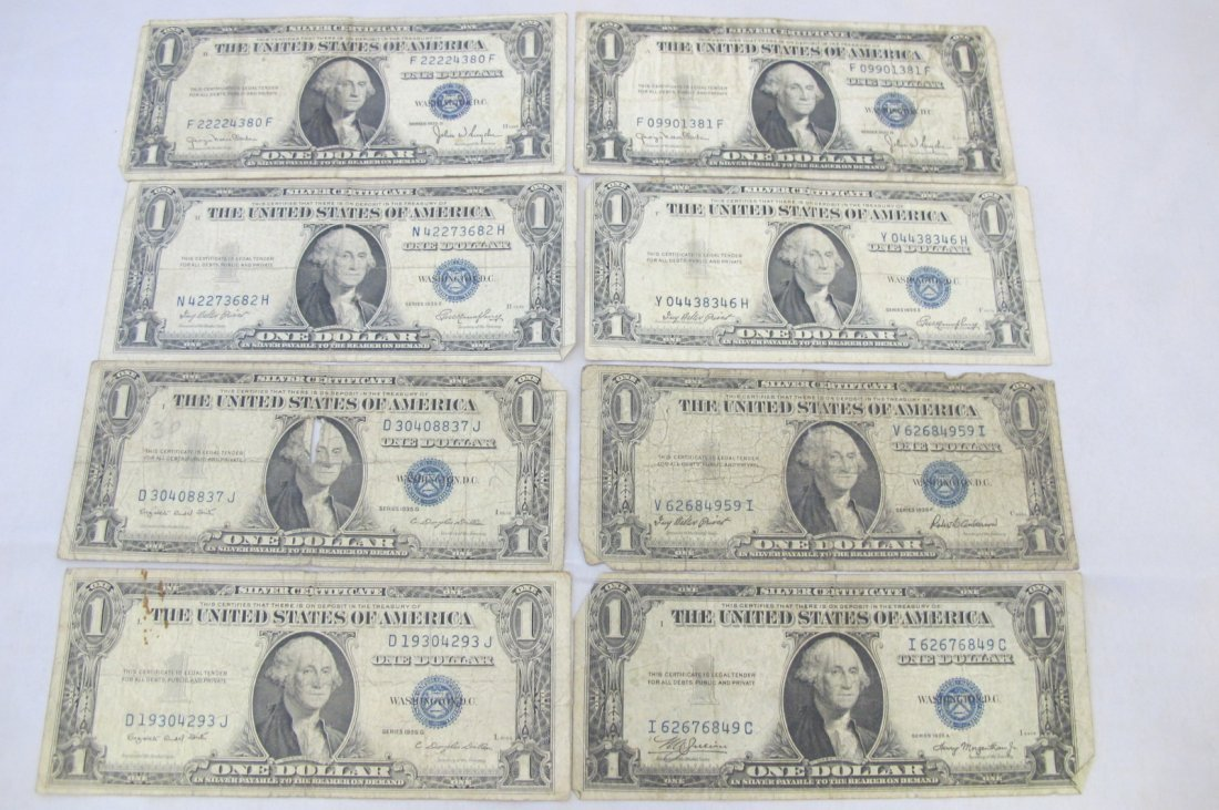 Lot of Eight 1935 One Dollar Silver Certificates