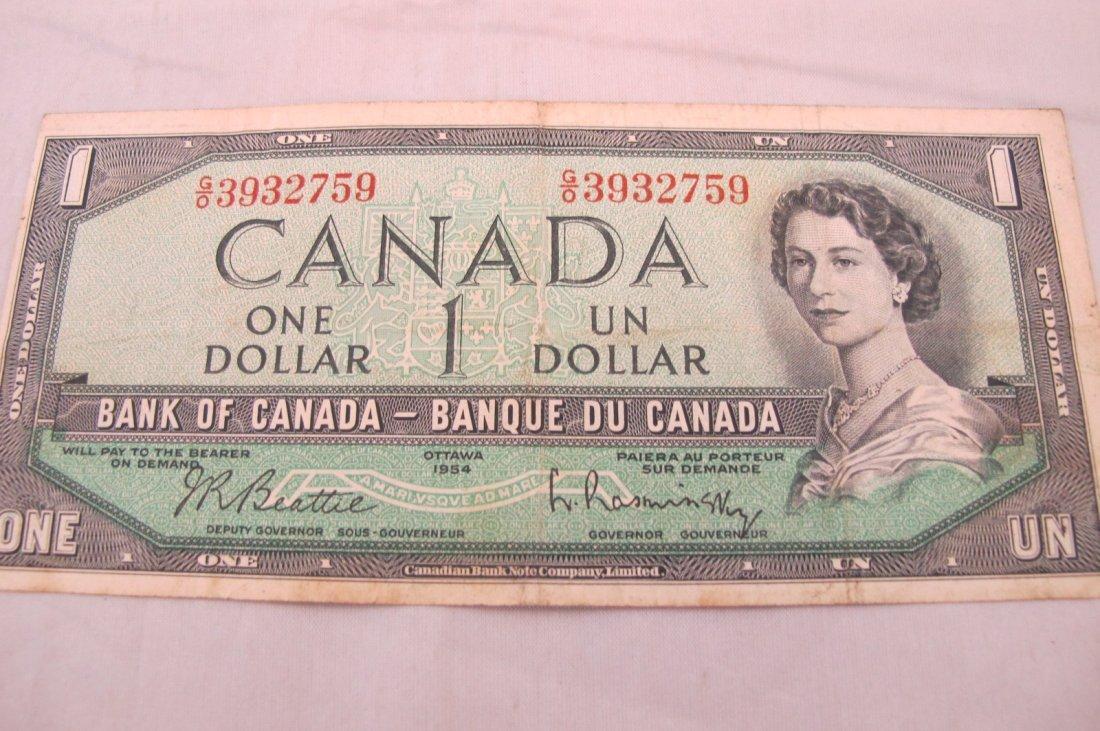 1954 Ottawa Canada One Dollar Bill