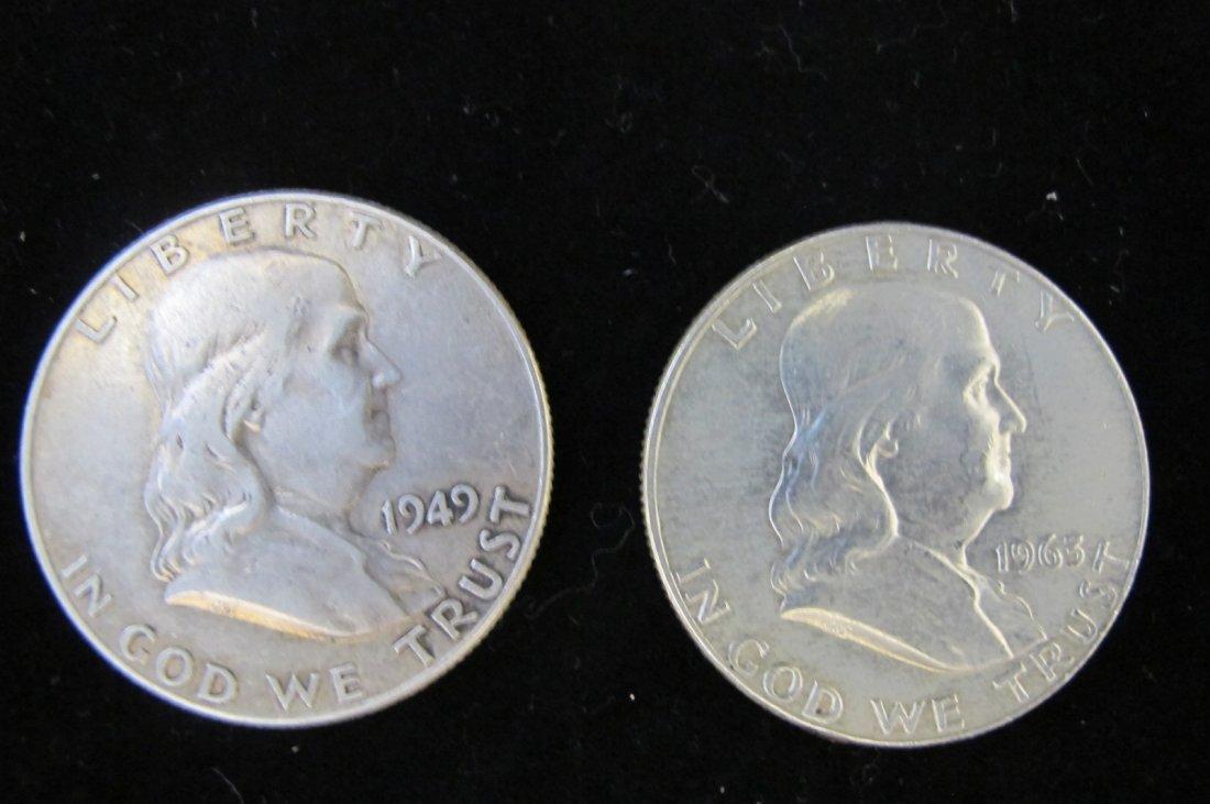 1963 & 1949 Franklin Half Dollars