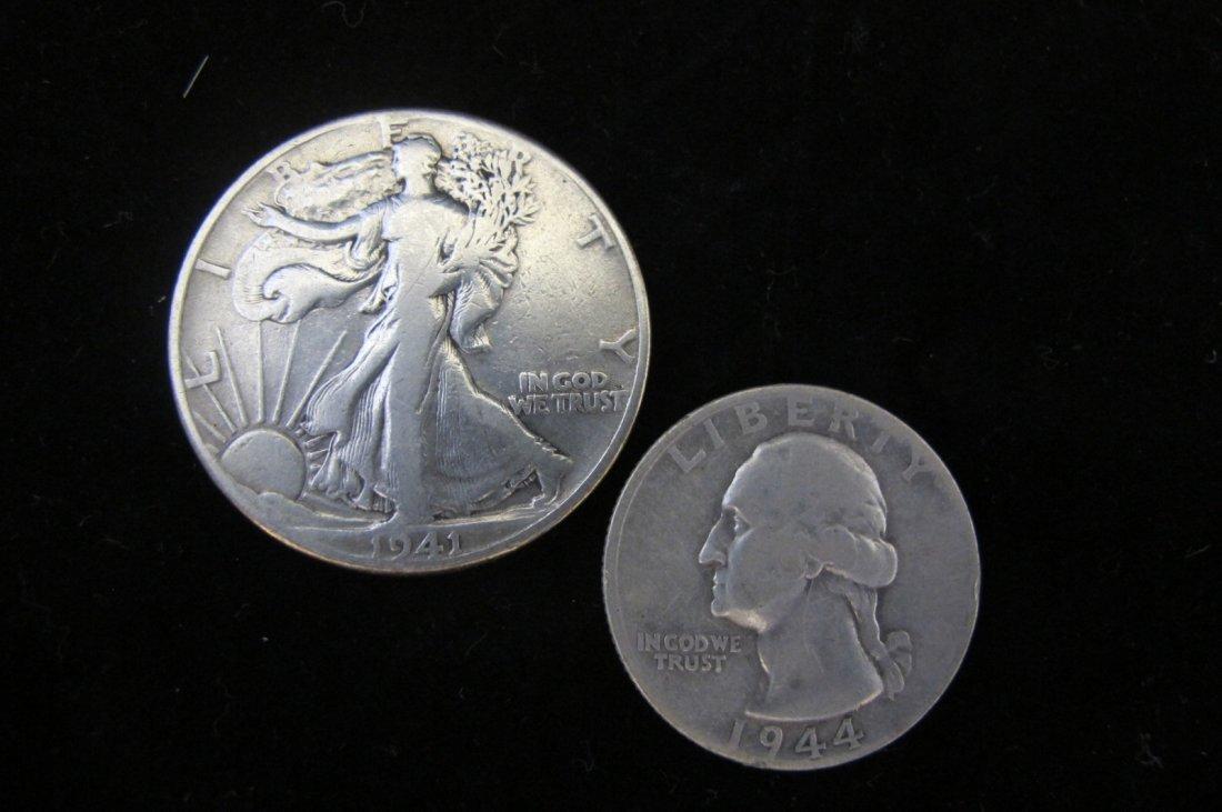 1944-S Silver Washington Quarter & 1941 Walking Liberty
