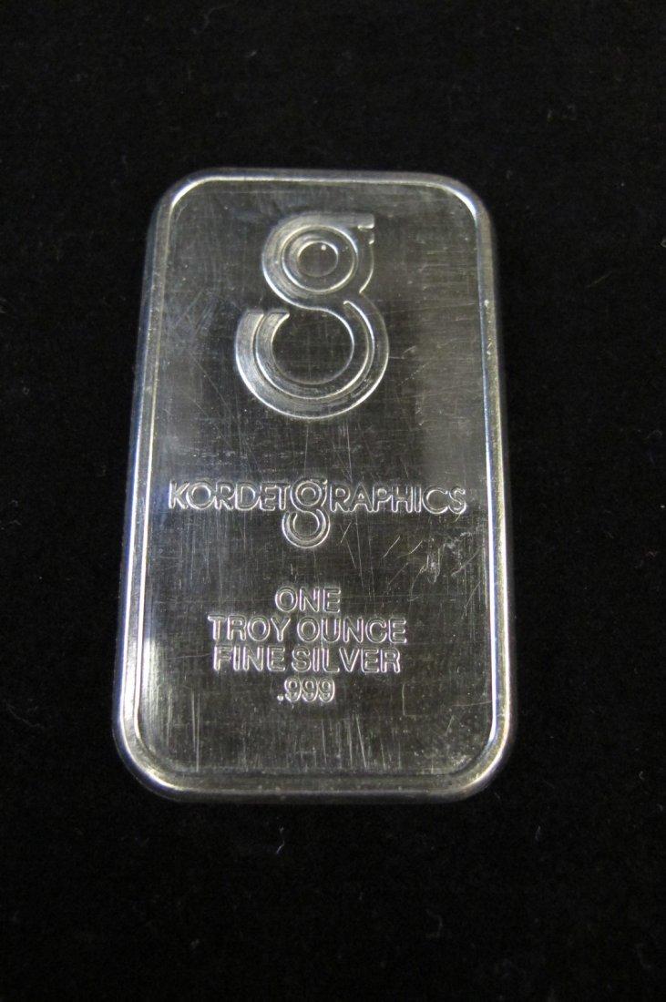 Kordet Graphics One Troy Oz. Fine Silver Bar