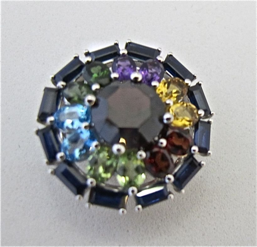 Sterling Silver Pendant Containing Sapphires, Garnets,
