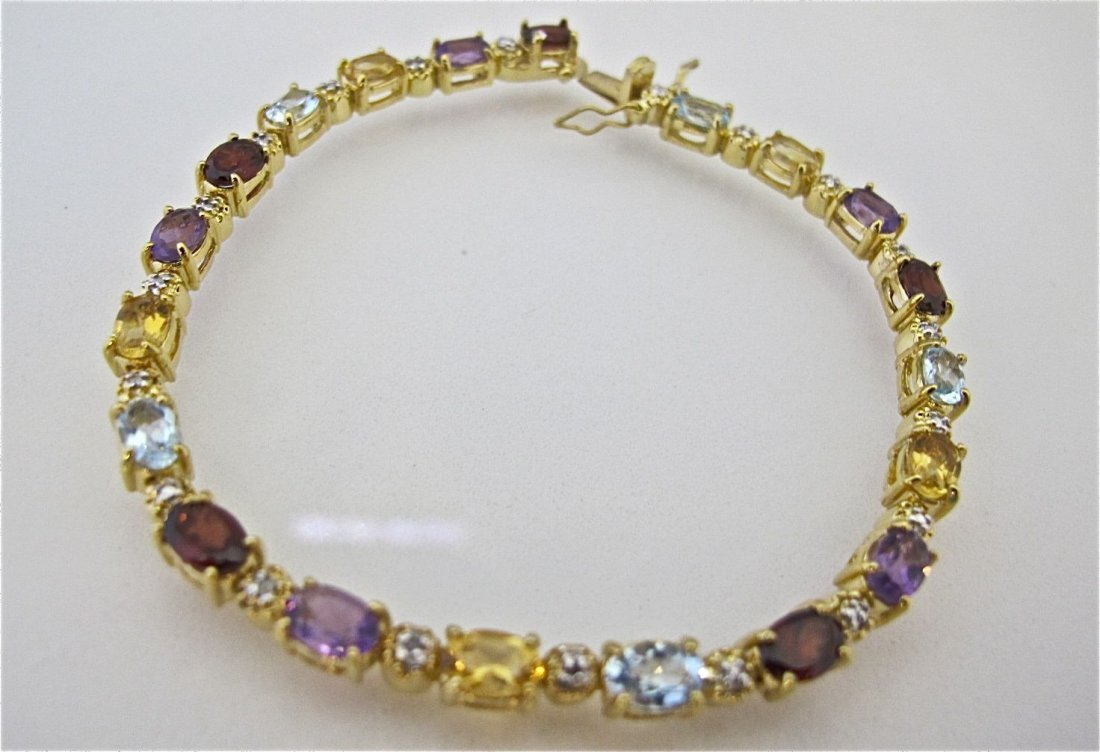 Sterling Silver with Gold Overlay Multi Stone Bracelet