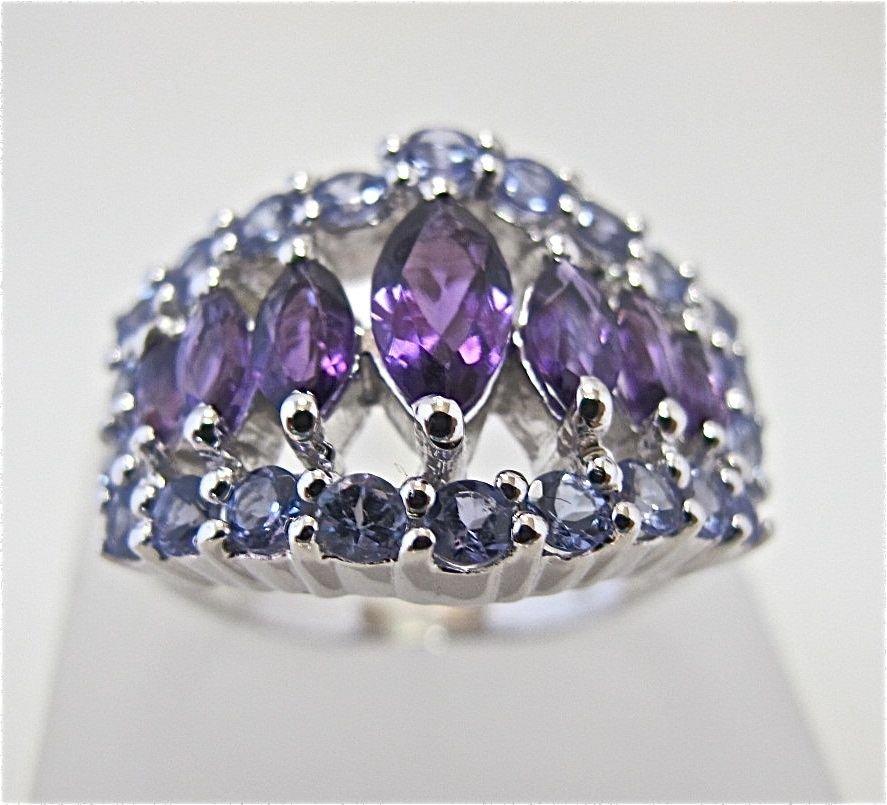 Sterling Silver Amethyst & Tanzanite Ring