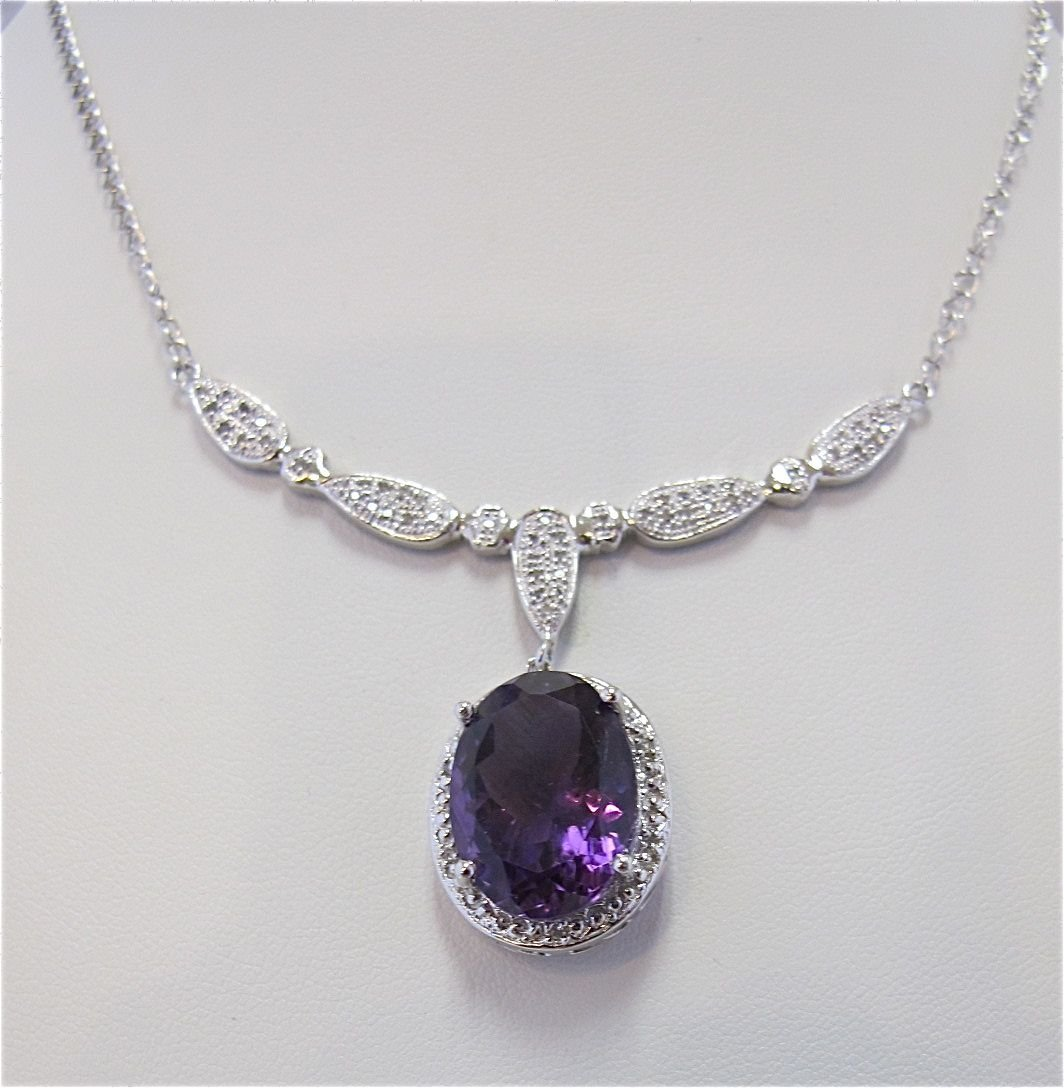 Sterling Silver w/ Platinum Amethyst & Diamond Necklace
