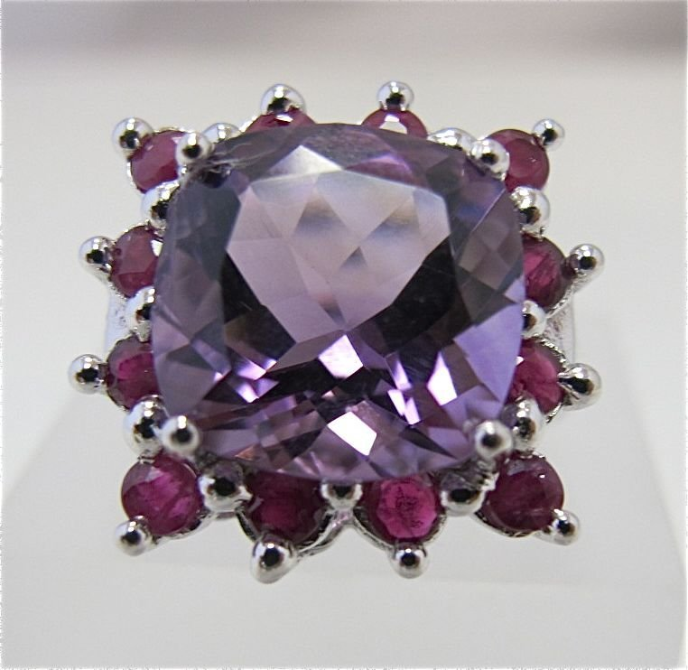 Sterling Silver Amethyst & Ruby Ring