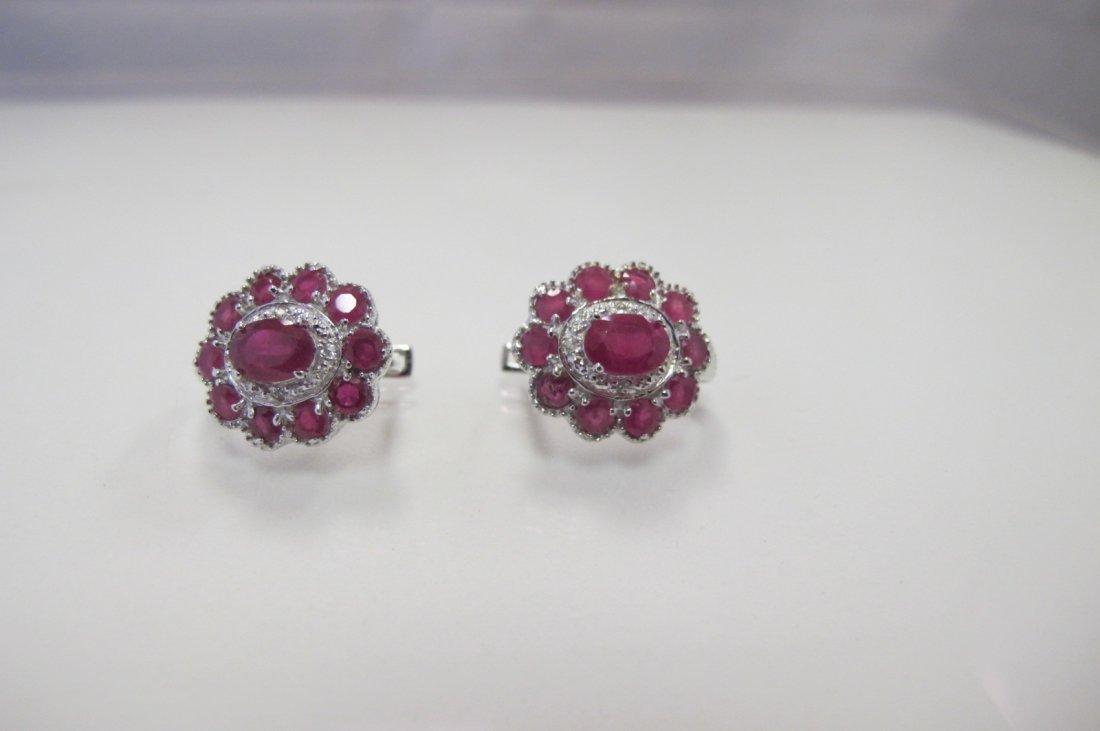 Sterling Silver Ruby & White Topaz Earrings