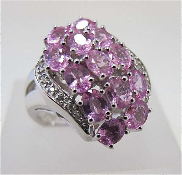 Sterling Silver Pink Sapphire & Diamond Ring