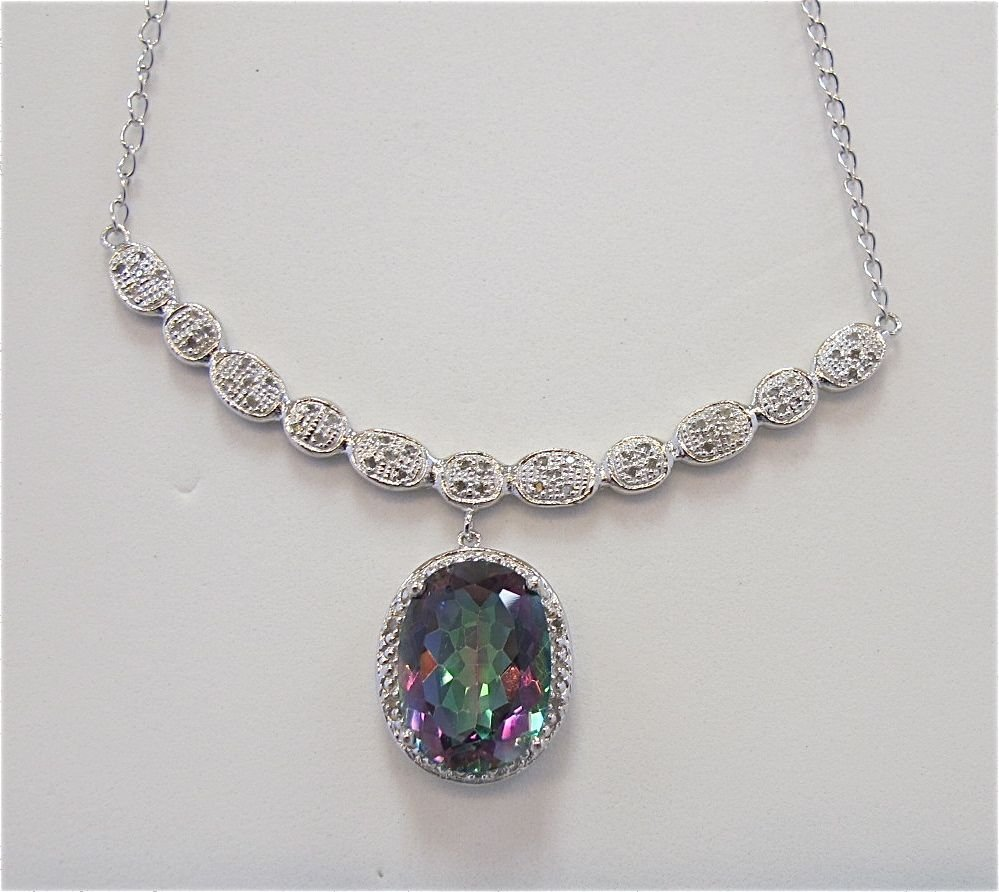 Sterling Silver w/ Platinum Rainbow Topaz  Diamond Neck