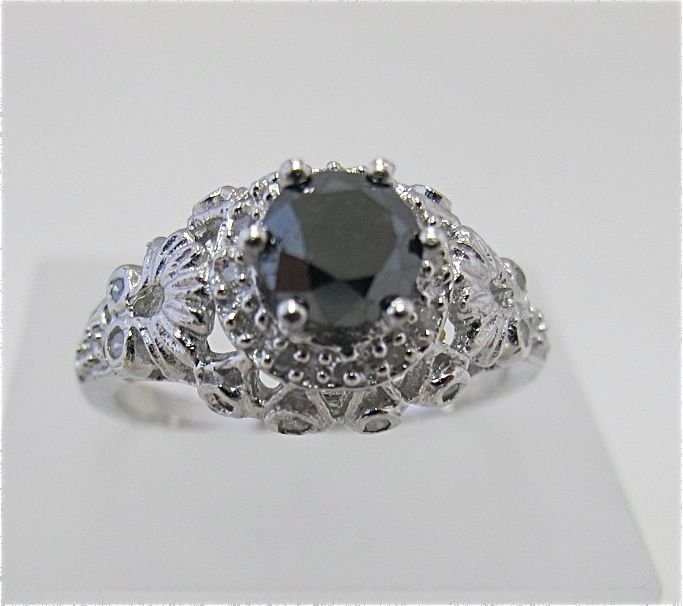 Sterling Silver w/ White Gold Overlay Black Dia Ring