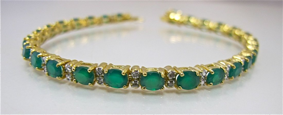 Sterling Silver w/ Gold Overlay Emerald & Dia Braceelet