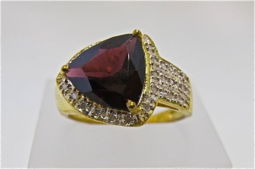 Sterling Silver with Gold Overlay Garnet & Diamond Ring