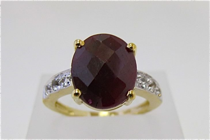 Sterling Silver w/ Gold Overlay Ruby & Diamond Ring