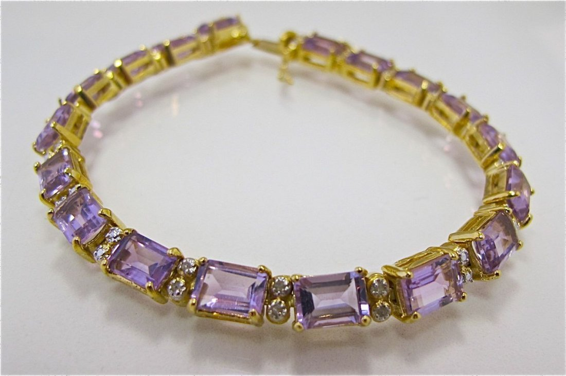 Sterling Silver w/ Gold Overlay Amethyst & Dia Bracelet