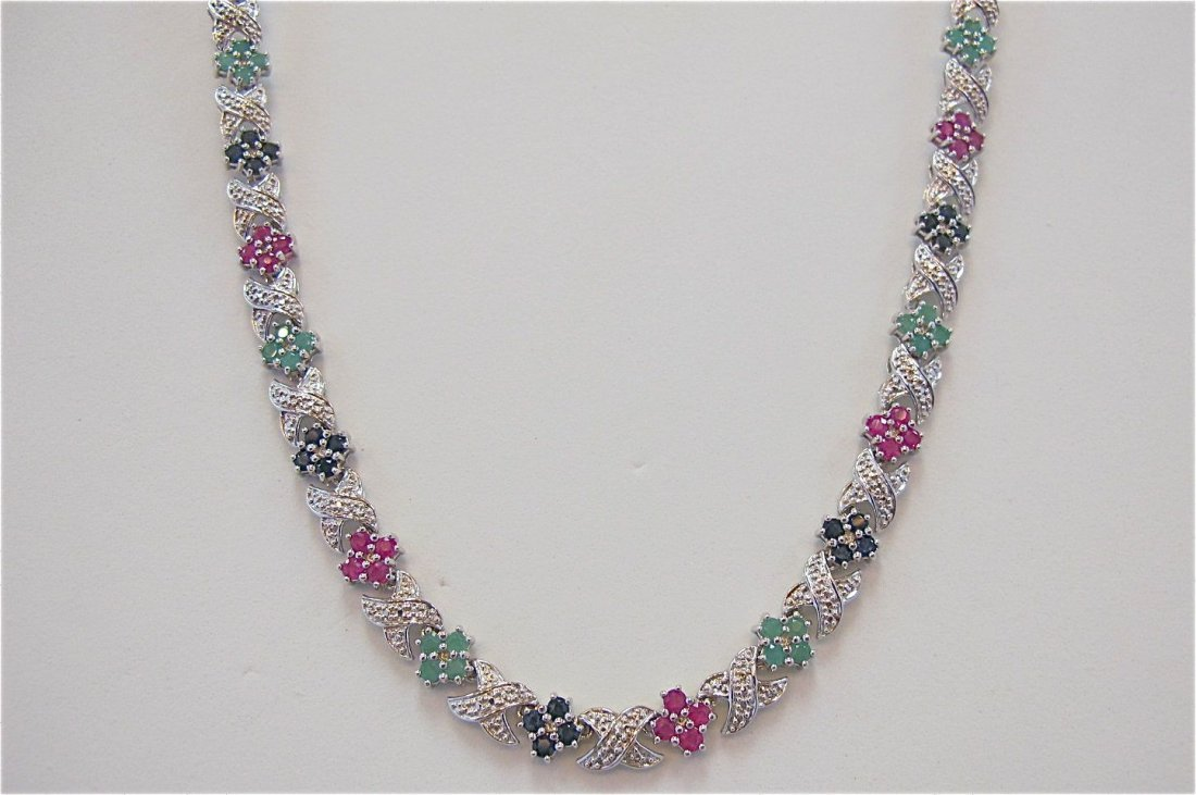 Sterling Silver Emerald, Ruby, Sapphire Necklace