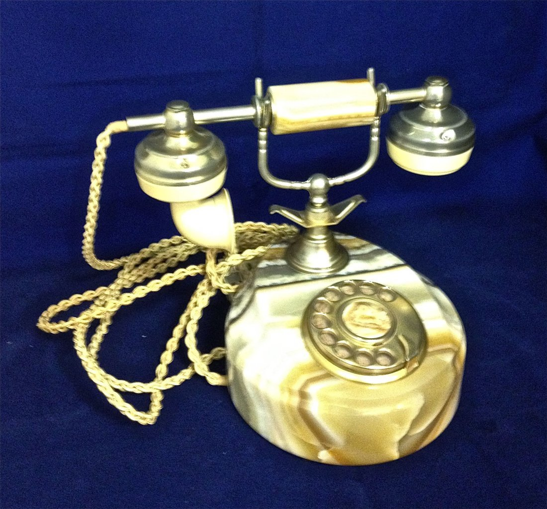 Vintage Italian Marble Telephone with Rotary Dial
