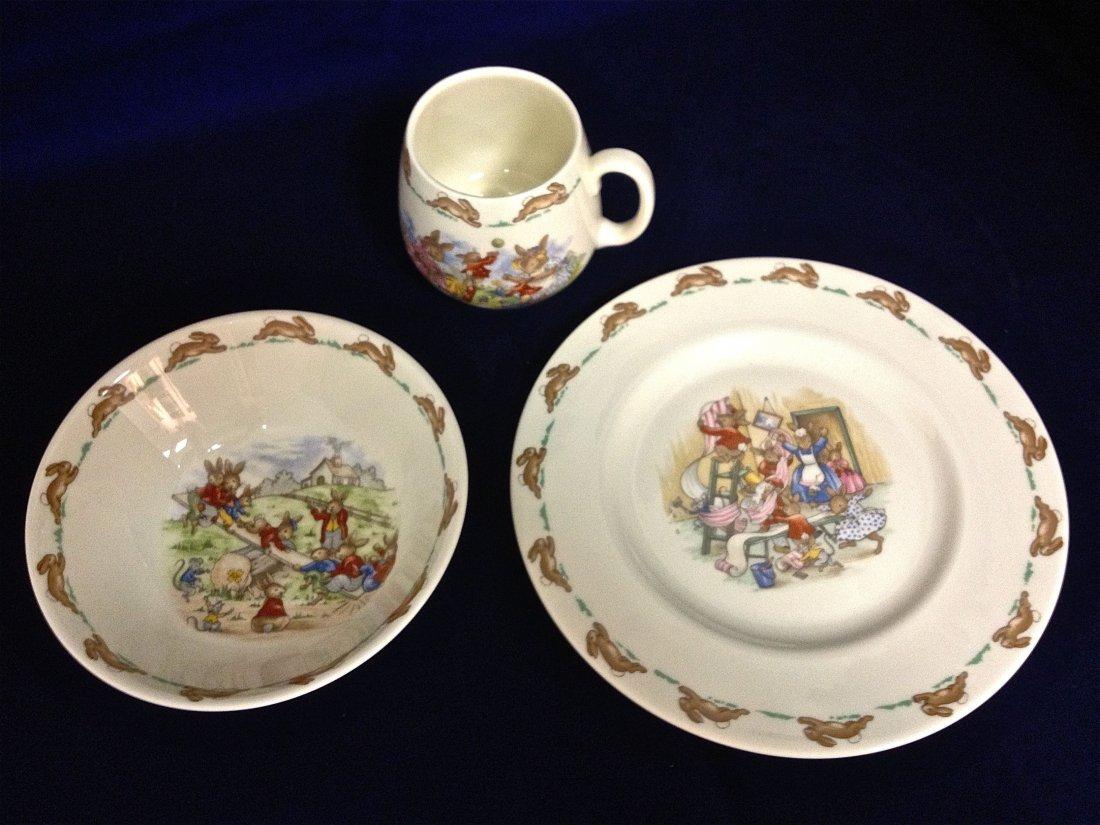 "Three Piece Royal Doulton ""Bunnykins"" Fine Porcelain"