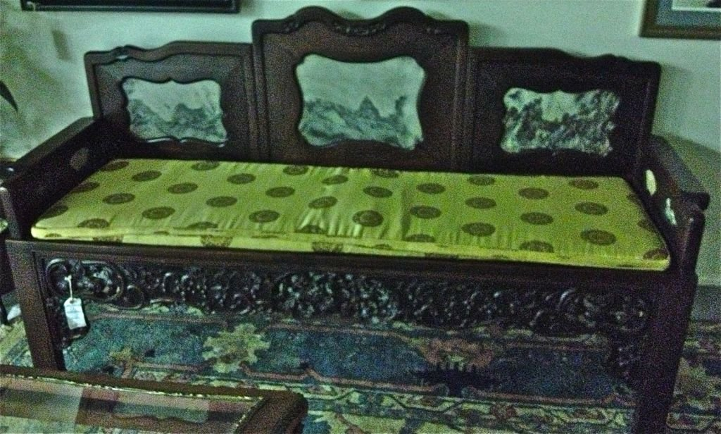 Chinese Carved Rosewood Settee, ca1890