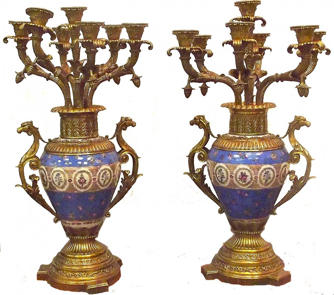 Pair of Porcelain & Brass Candleabras with Dragon Handl