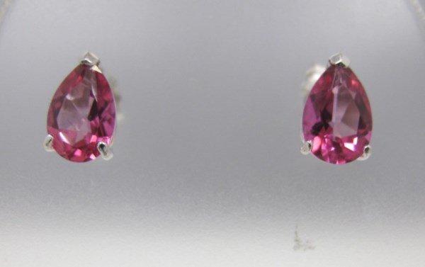 14K White Gold Pink Topaz Stud Earrings, 2 Pear Shaped