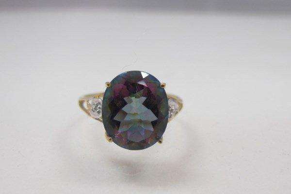 10K Yellow Gold Mystic Topaz & Diamond Ring Containing