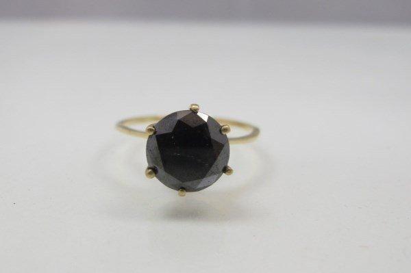 14K Yellow Gold Black Diamond Ring, Round Black