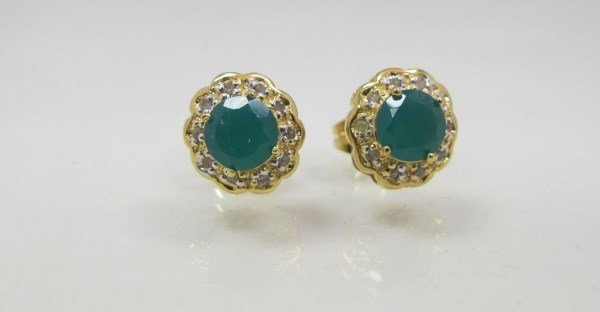 Sterling Silver with Gold Overlay Emerald & Diamond