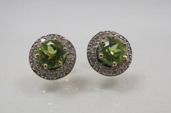 10K Yellow Gold Peridot & Diamond Earrings, 2