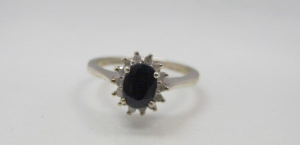 Sterling Silver Sapphire & Diamond Ring, Oval
