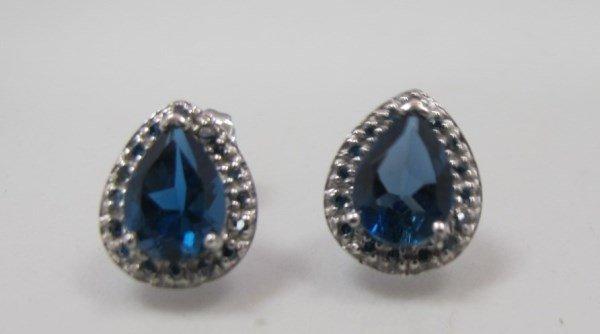 10K White Gold Blue Topaz & Diamond Earrings Containing