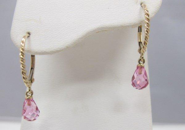 14K Yellow Gold Briolette Shaped Pink Topaz Earrings