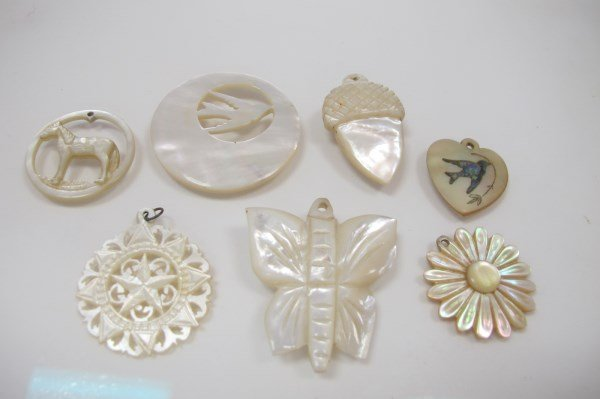 8 Mother of Pearl Carved Drop Pendants by George
