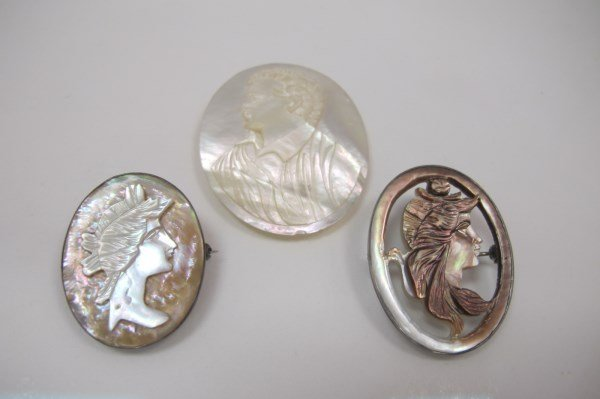 Carved Mother of Pearl Art Deco Cameo, and 2 Mother of