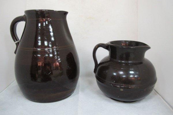 2 Vintage Brown Potteryware Jugs