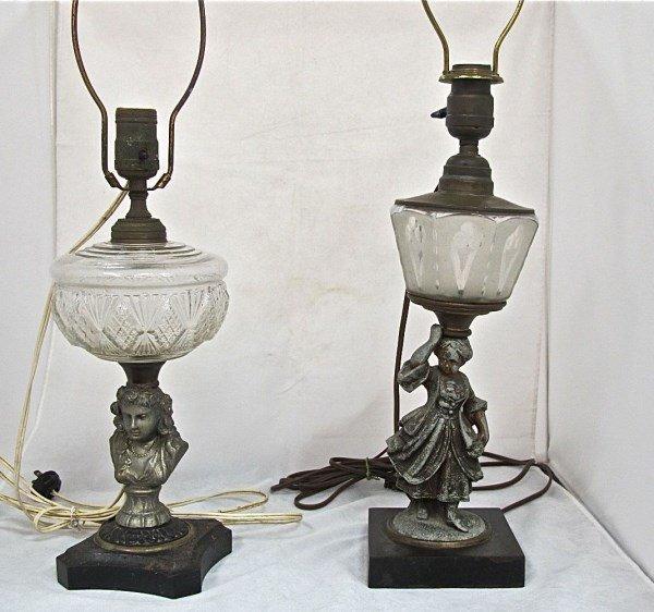 2 Antique Figural Lamps Electrified