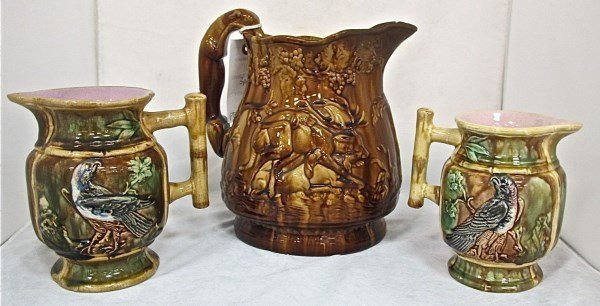 Vintage Potteryware Pitcher and 2 Small Pitchers