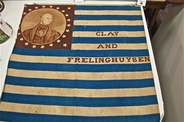 Clay and Frelinghuysen Campaign Flag, Printed Blue and