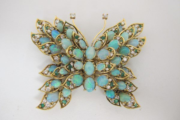 18K Yellow Gold Opal, Diamond and Emerald Butterfly Pin