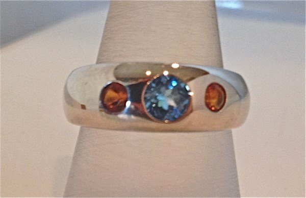 Sterling Silver Blue Topaz and Citrine Ring, BT=.62cts.