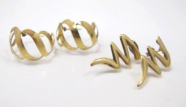 2 Pairs 14K Yellow Gold Earrings, 2.30dwt