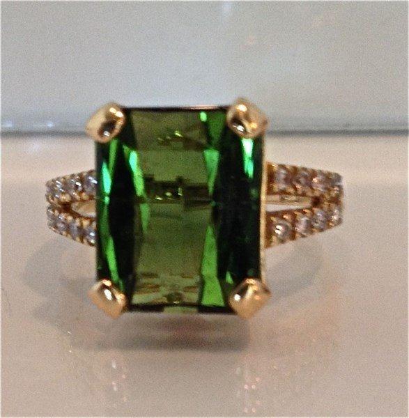 18K Yellow Gold Green Tourmaline and Diamond Ring,