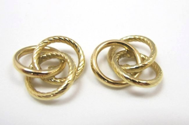 14K Yellow Gold Twist Knot Earring Jackets, 1.47dwt
