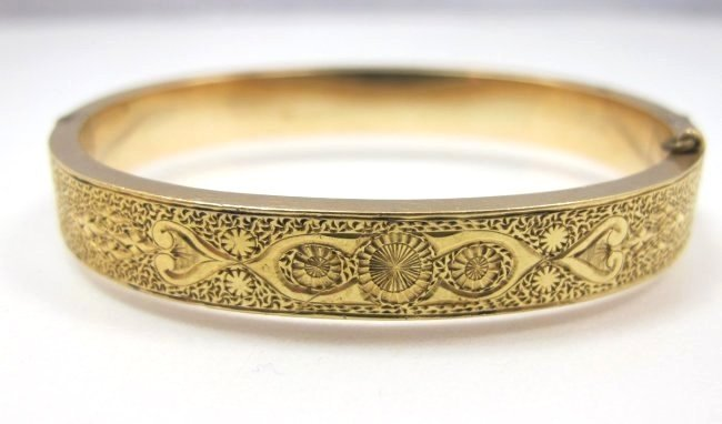 10K Yellow Gold Bangle Bracelet, 9.27dwt