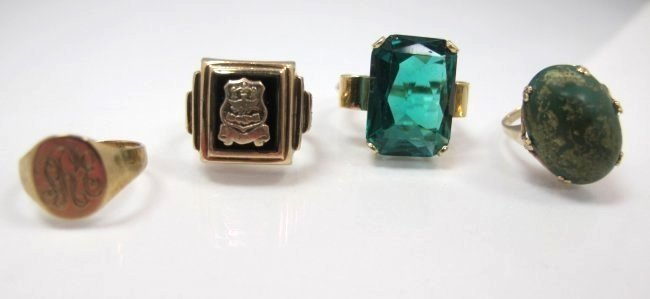 Four 10K Yellow Gold Rings