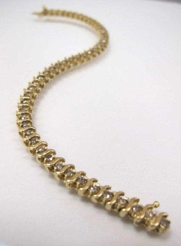 14K Yellow Gold Diamond Bracelet, 9.64dwt